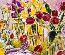 Tulips in Glass Vases 20x24
