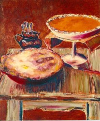 Two Pies on Wooden Table, 20x24