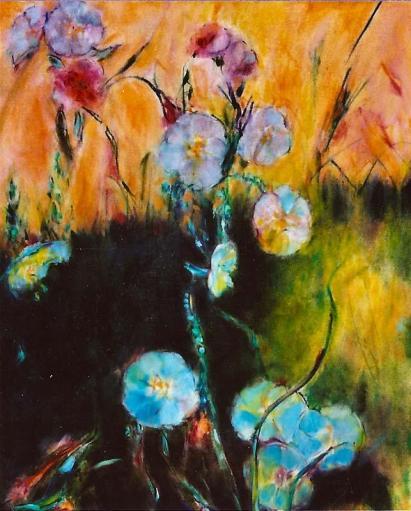 White Evening Primrose Wildflowers 18x24