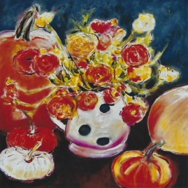 Still Life with Pumpkins and Roses 18x18