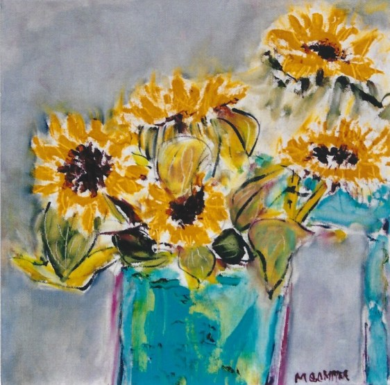 Sunflowers in Turquoise Vases 12x12