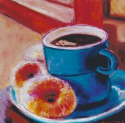 Blue Cup with Donuts 12x12