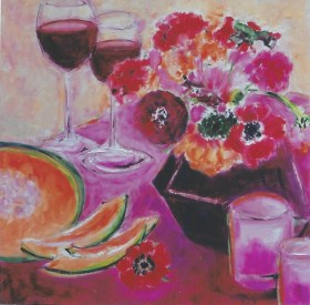 Floral with Wine and Cantelope 18x18