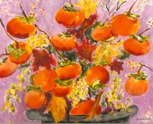 persimmons in turquoise vase 20x24