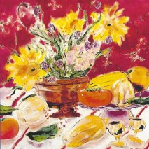 still life with autumn florals 2'x2'