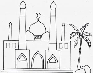 Kumpulan Gambar Mewarnai Masjid Resolusi Bagus 2019