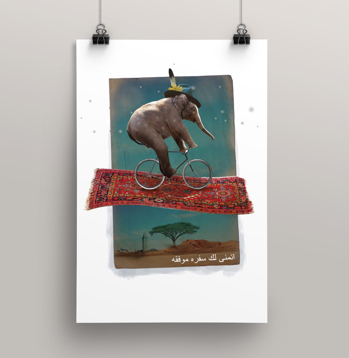 Fahrrad Elefant fliegender Teppich Collage