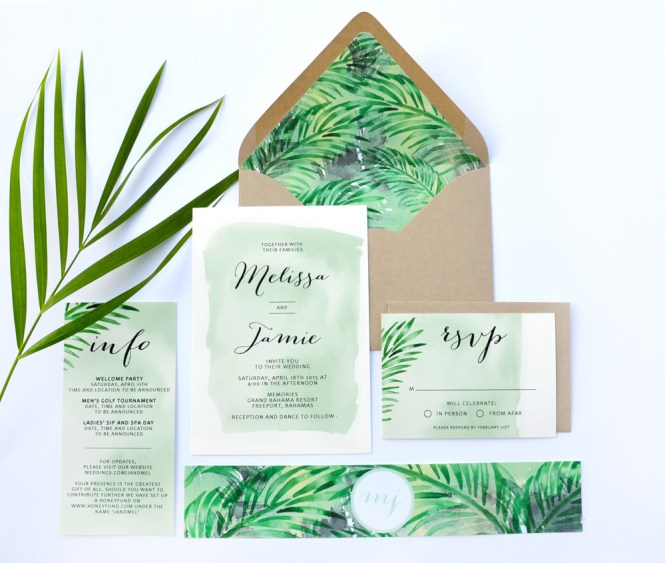 Tropical Wedding Invitations Marina Gallery Fine Art