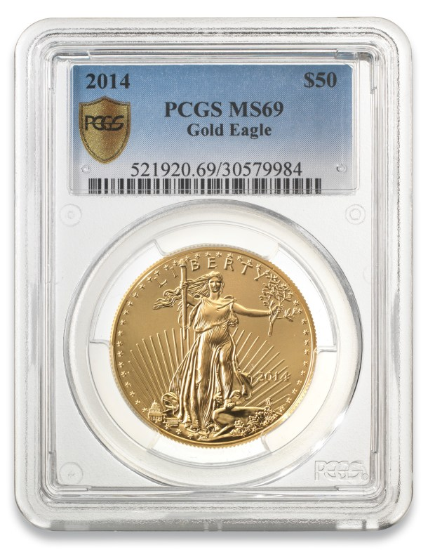2014 50-dollar gold eagle mint state coin graded MS-69 by PCGS