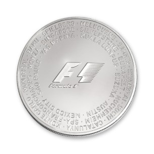 Front of silver coin with all 21 Formula 1 circuit names