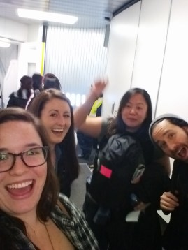 PTY crew in the gangway at JFK. With Kelly, Anabelle, Jason.