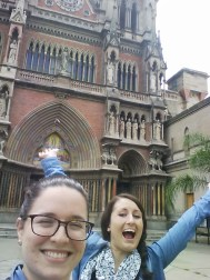Kelly and I visiting Iglesia de los Capuchinos, which we can see from our balcony
