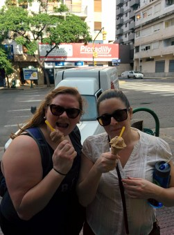 Dulce de leche ice cream pit stop during the Amazing Race with Samantha