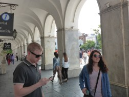 Matt and Kelly enthralled by our tour guide, outside of the Cabildo (main administrative building)