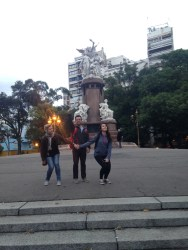 Tanya, Eric and Kelly at a plaza in Recoleta