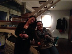 Kelly and me in the chef's awesome loft apartment