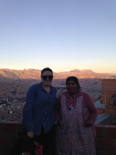 An enterprising gentleman charged us 1 boliviano to get onto his roof for a better view. This is his wife.