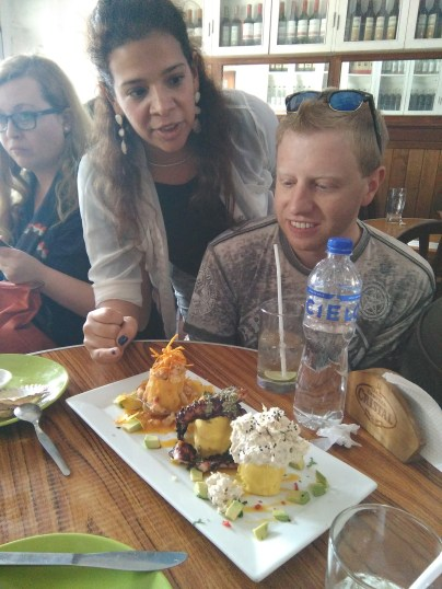 Different types of ceviche on the food tour (with Carla)