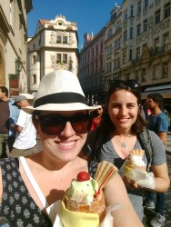 Eating Trdelnik with Abby (ice cream in dough)