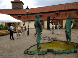 David Cerny's statue depicting his thoughts of Czech Republic joining the EU