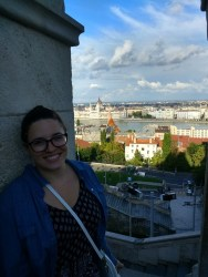 Me at Fisherman's Bastion, overlooking Budapest