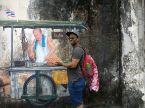 Phuket street art & hungry Sean