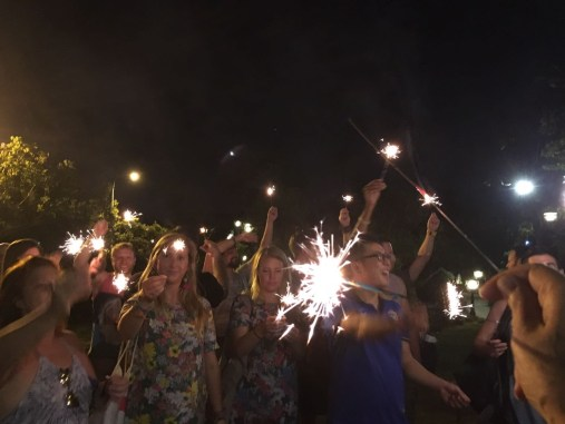 Sparkler toast at farewell party