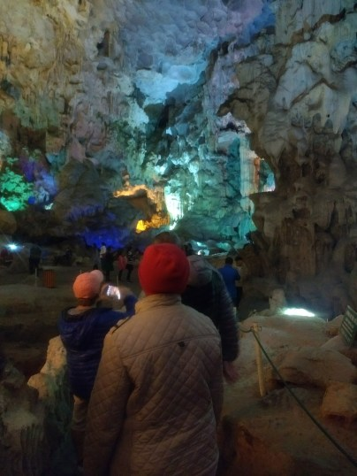 Checking out a huge cave in Halong