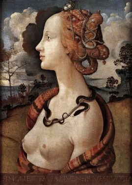 Portrait of Simonetta Vespucci, by Sandro Botticelli. Marina's muses are inspired by artists models, individually hand made using fine cotton lawns and silks.
