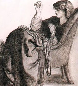Drawing of Jane sewing, by Rossetti 1860.