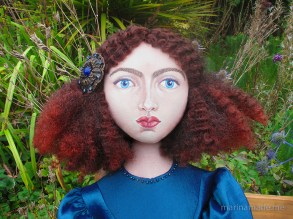 Jane Morris muse, favoured by Rossetti, hand sewn art doll, stitched and painted by Marina Elphick, UK artist.
