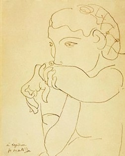 Pencil drawing of Lydia by Henri Matisse 1939.