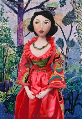 """Matisse muse Lydia set in """" Moroccan Landscape"""" 1913, a painting by Henri Matisse. Art muse doll hand made by Marina Elphick."""