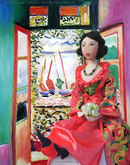 Muse by 'Open Window Collioure' by Henri Matisse, 1905. Matisse muse Lydia was hand made by Marina Elphick for 'Marina's Muses'.