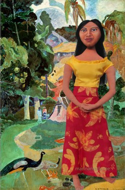"""Art muse by Marina, Teha'mana in Landscape with Peacocks or """"Matamoe"""", by Paul Gauguin."""