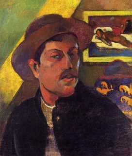 Self portrait in a hat 1893, Gauguin