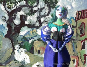 Marina's muse, Marie-Thérèse inspired by Picasso's, in Provence. Painting by Picasso, 1965. Art muses by Marina Elphick. Picasso's muse and lover, Marie-Thérèse.