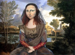 """Mona muse in """"Landscape With a Calm,"""" by N Poussin, 1651. Mona Lisa, La Joconde, Lisa del Giocondo, Mona Lisa muse sculpted in textiles by Marina Elphick."""