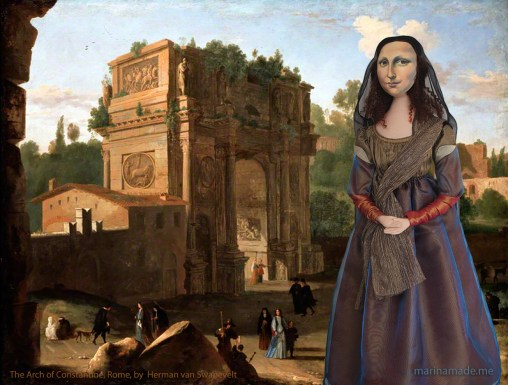 Mona Lisa muse at The Arch of Constantine, Rome. Lisa Gherardini, La Joconde, Mona Lisa muse sculpted in textiles by Marina Elphick.