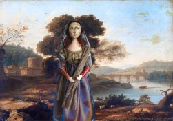 Mona Lisa muse near Ponte Molle, Rome in a pastoral landscape by Claude Lorrain. Mona Lisa muse sculpted in textiles by Marina Elphick.