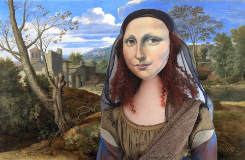 """La Gioconda, La Joconde, Lisa Gherardini, or as we all know her, Mona Lisa. Mona Lisa muse, by Marina Elphick, with a Nicolas Poussin painting, """"Ideal landscape"""". Mona Lisa muse sculpted in textiles by Marina Elphick."""
