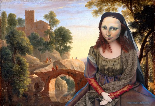 Mona Lisa muse seated in Italian Landscape with bridge, painted by Herman van Swanevelt in 1645. Mona Lisa muse sculpted in textiles by Marina Elphick.