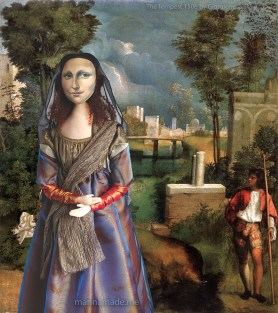 """La Gioconda, La Joconde, Lisa Gherardini, or as we all know her, Mona Lisa. Mona Lisa muse set against a painting by Italian master Giorgione,"""" The Tempest"""" 1506. Mona Lisa muse sculpted in textiles by Marina Elphick."""