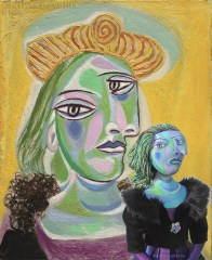 """Muse, Dora Maar with the painting that inspired her, """"Bust of a Woman """", 1938, by Pablo Picasso. Dora Maar muse, designed and sculpted in textiles by artist, Marina Elphick. Picasso's model and muse"""