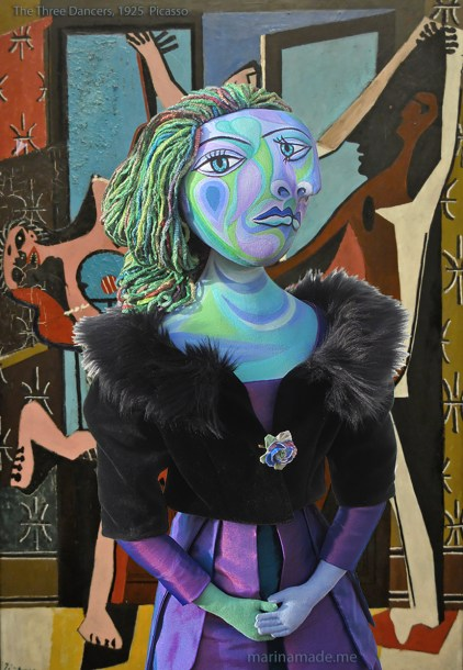 """Dora Maar muse with """"The Three Dancers,"""" by Pablo Picasso, 1925. Dora Maar muse, designed and sculpted in textiles by artist, Marina Elphick. Dora Maar, muse and lover of Picasso."""