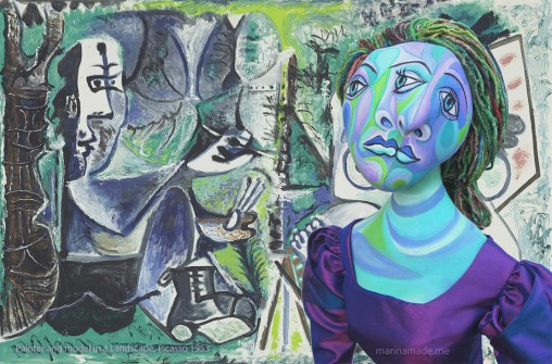 """""""Painter and his model in a Landscape,"""" 1953 by Picasso, with Dora Maar muse facing outward. Dora Maar muse, designed and sculpted in textiles by artist, Marina Elphick. Dora Maar, Picasso's muse and lover, was a talented photographer and artist herself."""