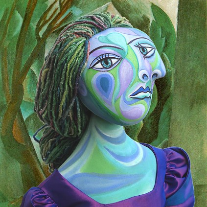 """Detail of Dora Maar muse """" Maisonette dans un jardin"""" by Picasso 1908. Dora Maar muse, designed and sculpted in textiles by artist, Marina Elphick. Dora Maar, one of six of Picasso's muses and lovers, Dora Maar was a renowned Surrealist photographer and artist herself."""
