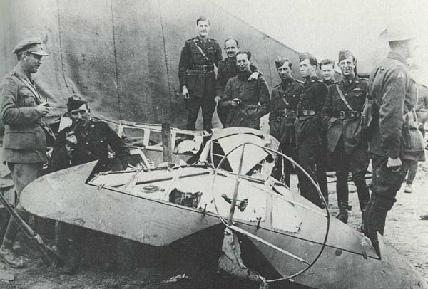 The remains Manfred von Richthofen's airplane after he was shot and crashed (the plane was taken apart by people seeking souvenirs), 1918.