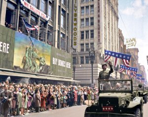 General George S. Patton acknowledging the cheers of the welcoming crowds in Los Angeles, CA, during his visit on June 9, 1945.