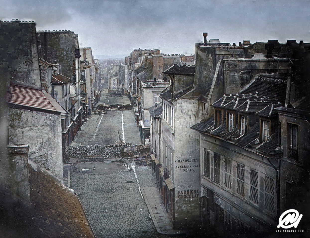 Paris street in the June Days Uprising, 1848